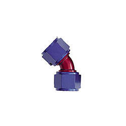 XRP 924512 Fitting, Adapter, 45 Degree, 12 AN Female Swivel to 12 AN Female Swivel, Aluminum, Blue / Red Anodized, Each