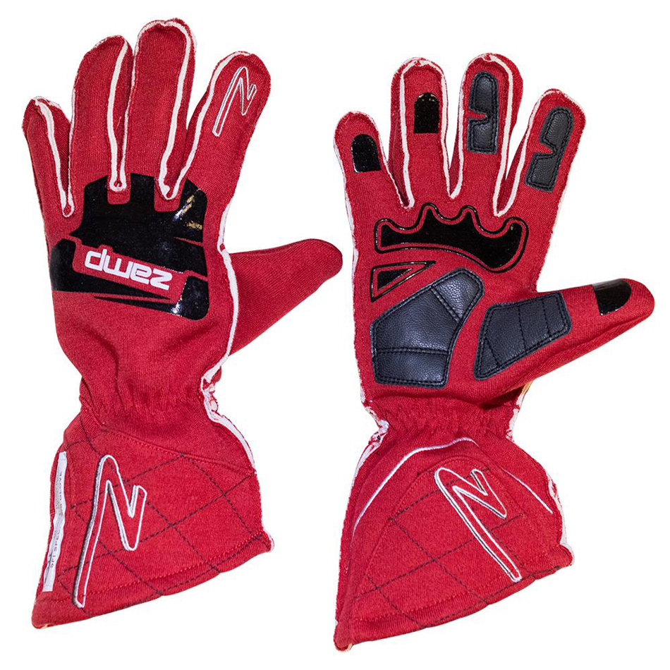 Zamp RG10002XL Gloves, ZR-50, Driving, SFI 3.3/5, Double Layer, Fire Retardant Fabric / Silicone, Red, X-Large, Pair