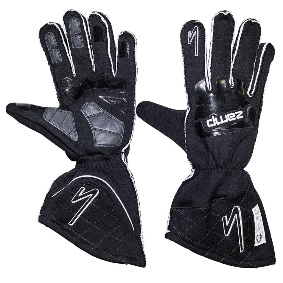 Zamp RG10003S Gloves, ZR-50, Driving, SFI 3.3/5, Double Layer, Fire Retardant Fabric / Silicone, Black, Small, Pair