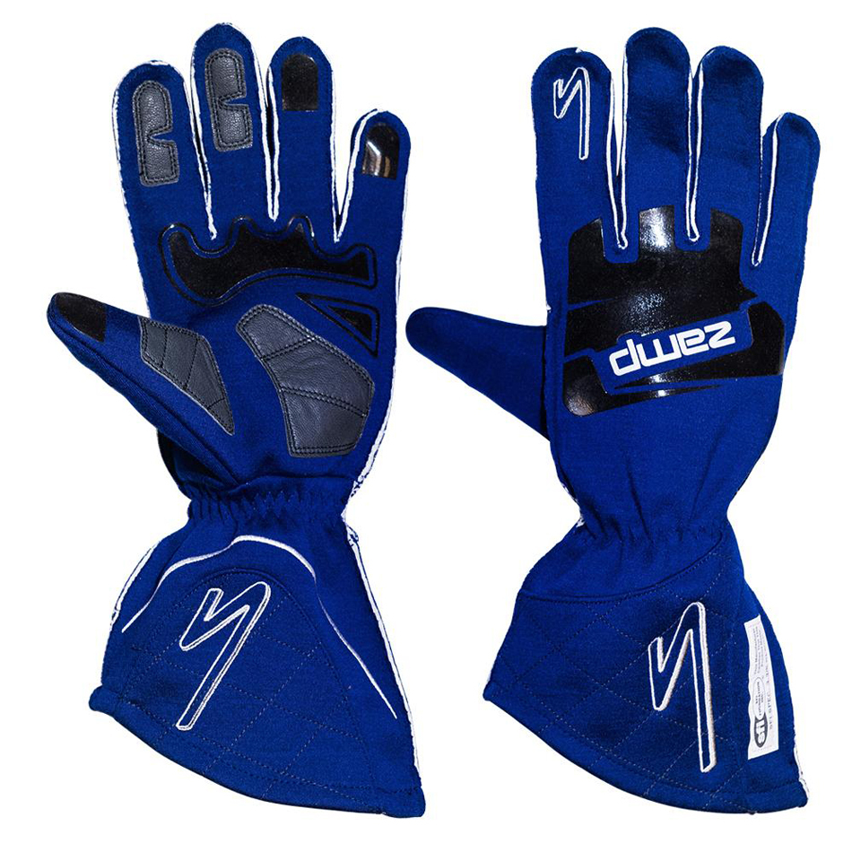 Zamp RG10004XL Gloves, ZR-50, Driving, SFI 3.3/5, Double Layer, Fire Retardant Fabric / Silicone, Blue, X-Large, Pair