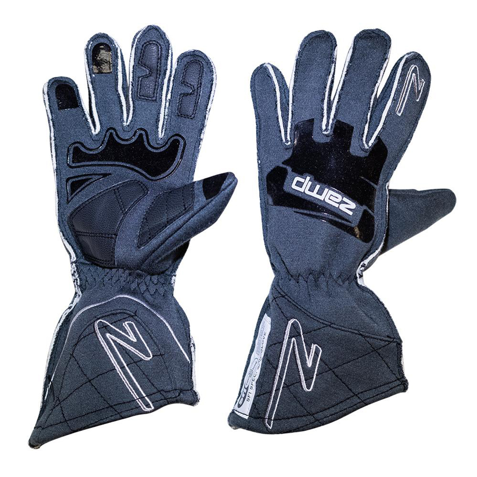 Zamp RG10015XS Gloves, ZR-50, Driving, SFI 3.3/5, Double Layer, Fire Retardant Fabric / Silicone, Gray, X-Small, Pair