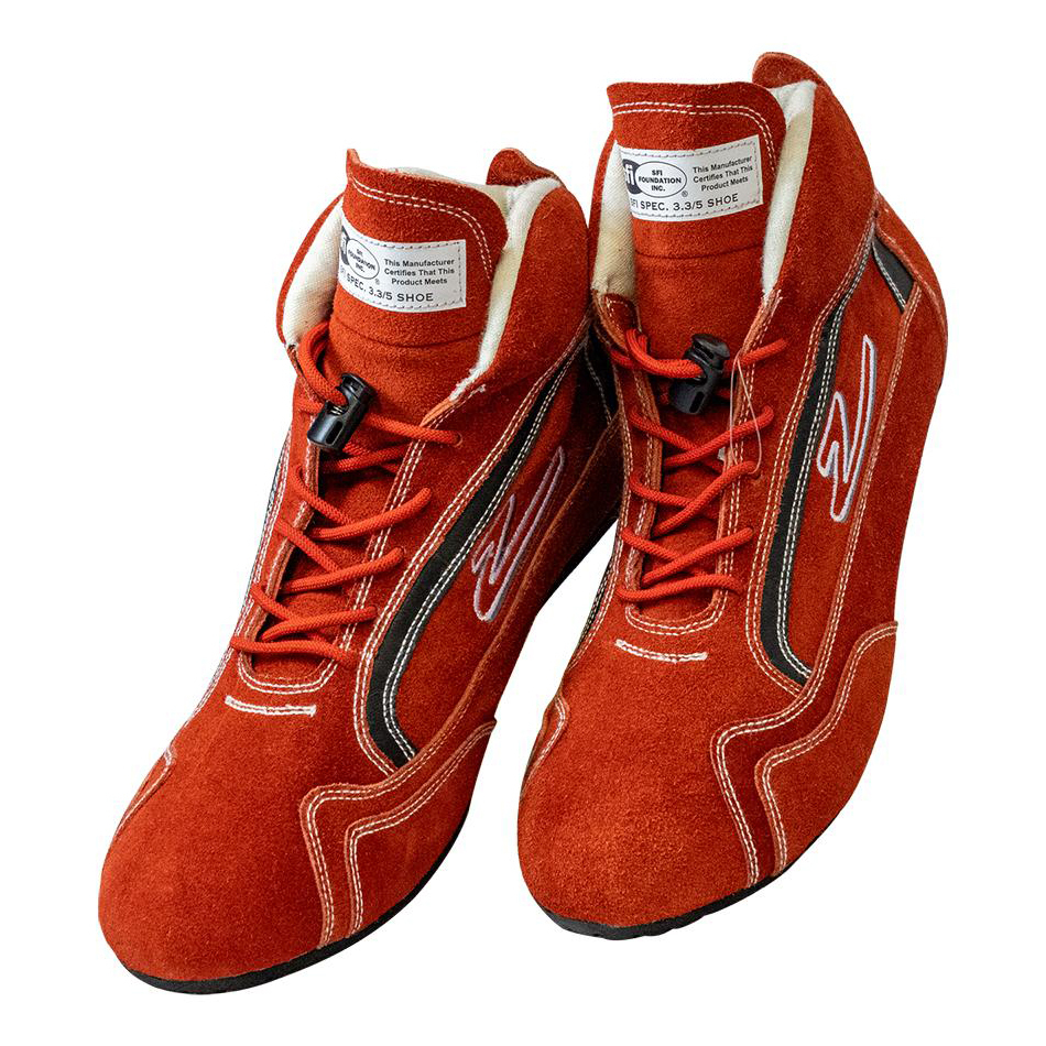 Zamp RS00100208 Shoe, ZR-30, Driving, Mid-Top, SFI 3.3/5, Suede Outer, Rubber Sole, Fire Retardant NMX Inner, Red, Size 8, Pair