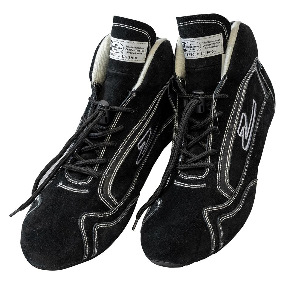 Zamp RS00100308 Shoe, ZR-30, Driving, Mid-Top, SFI 3.3/5, Suede Outer, Rubber Sole, Fire Retardant NMX Inner, Black, Size 8, Pair