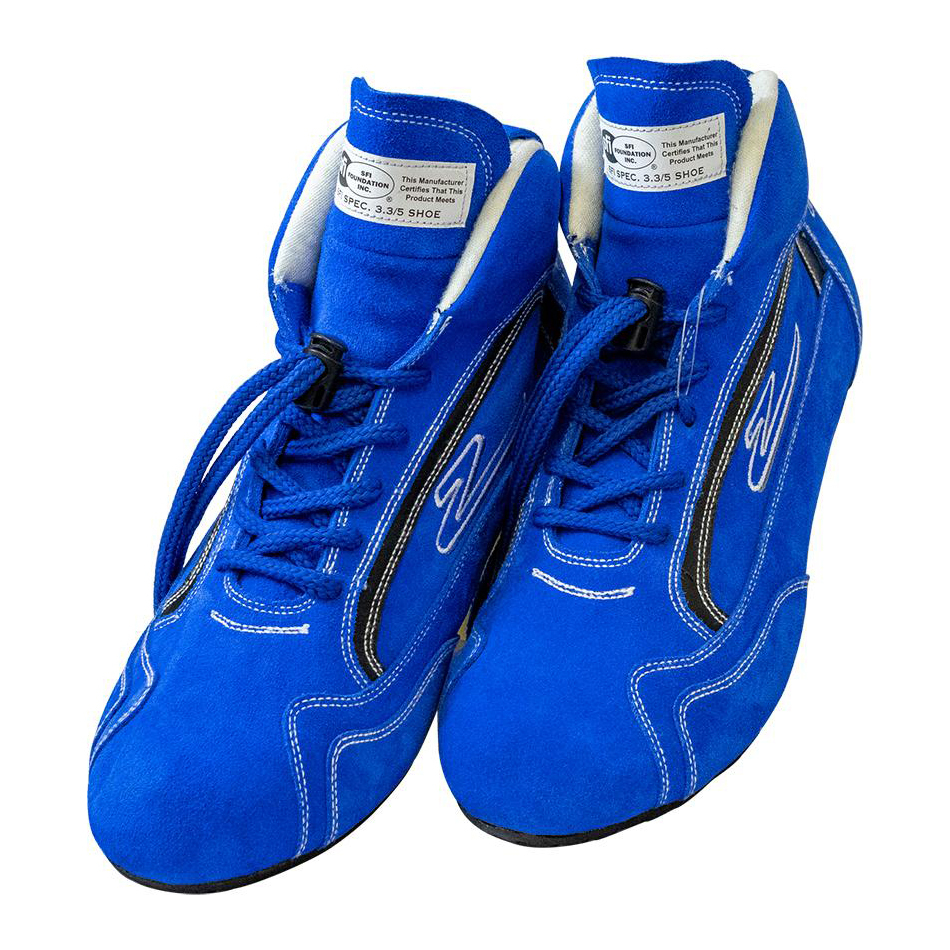 Zamp RS00100408 Shoe, ZR-30, Driving, Mid-Top, SFI 3.3/5, Suede Outer, Rubber Sole, Fire Retardant NMX Inner, Blue, Size 8, Pair