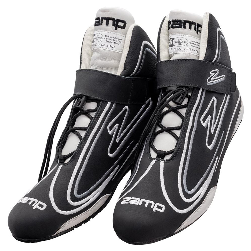 Zamp RS003C0108 Shoe, ZR-50, Driving, Mid-Top, SFI 3.3/5, Leather Outer, Rubber Sole, Velcro Strap, Fire Retardant NMX Inner, Black, Size 8, Pair