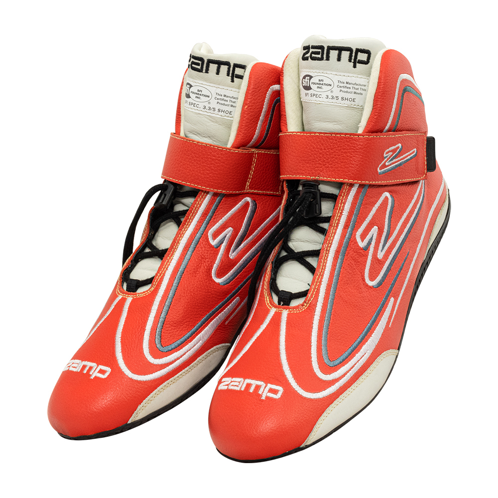 Zamp RS003C0210 Shoe, ZR-50, Driving, Mid-Top, SFI 3.3/5, Leather Outer, Rubber Sole, Velcro Strap, Fire Retardant NMX Inner, Red, Size 10, Pair