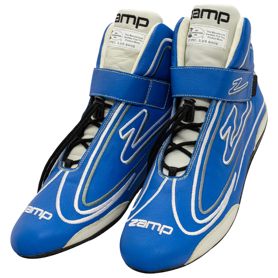 Zamp RS003C0408 Shoe, ZR-50, Driving, Mid-Top, SFI 3.3/5, Leather Outer, Rubber Sole, Velcro Strap, Fire Retardant NMX Inner, Blue, Size 8, Pair