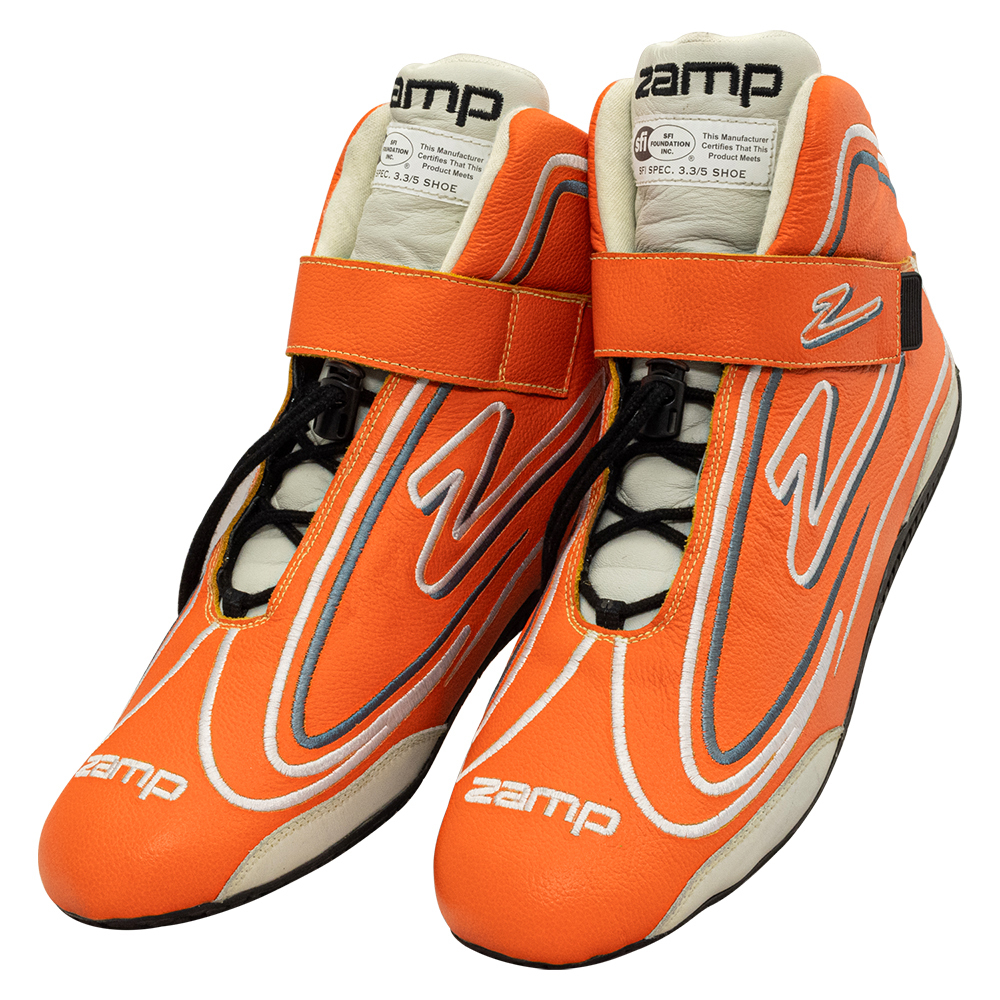Zamp RS003C0810 Shoe, ZR-50, Driving, Mid-Top, SFI 3.3/5, Leather Outer, Rubber Sole, Velcro Strap, Fire Retardant NMX Inner, Neon Orange, Size 10, Pair