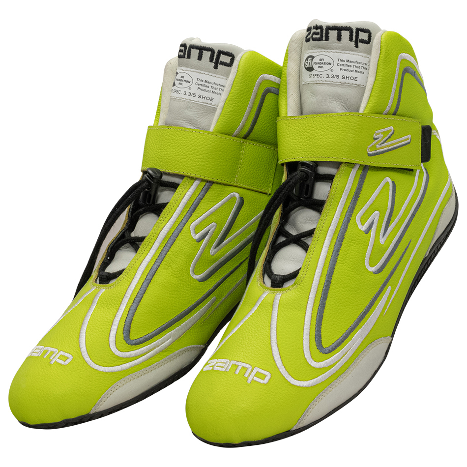 Zamp RS003C0913 Shoe, ZR-50, Driving, Mid-Top, SFI 3.3/5, Leather Outer, Rubber Sole, Velcro Strap, Fire Retardant NMX Inner, Neon Green, Size 13, Pair