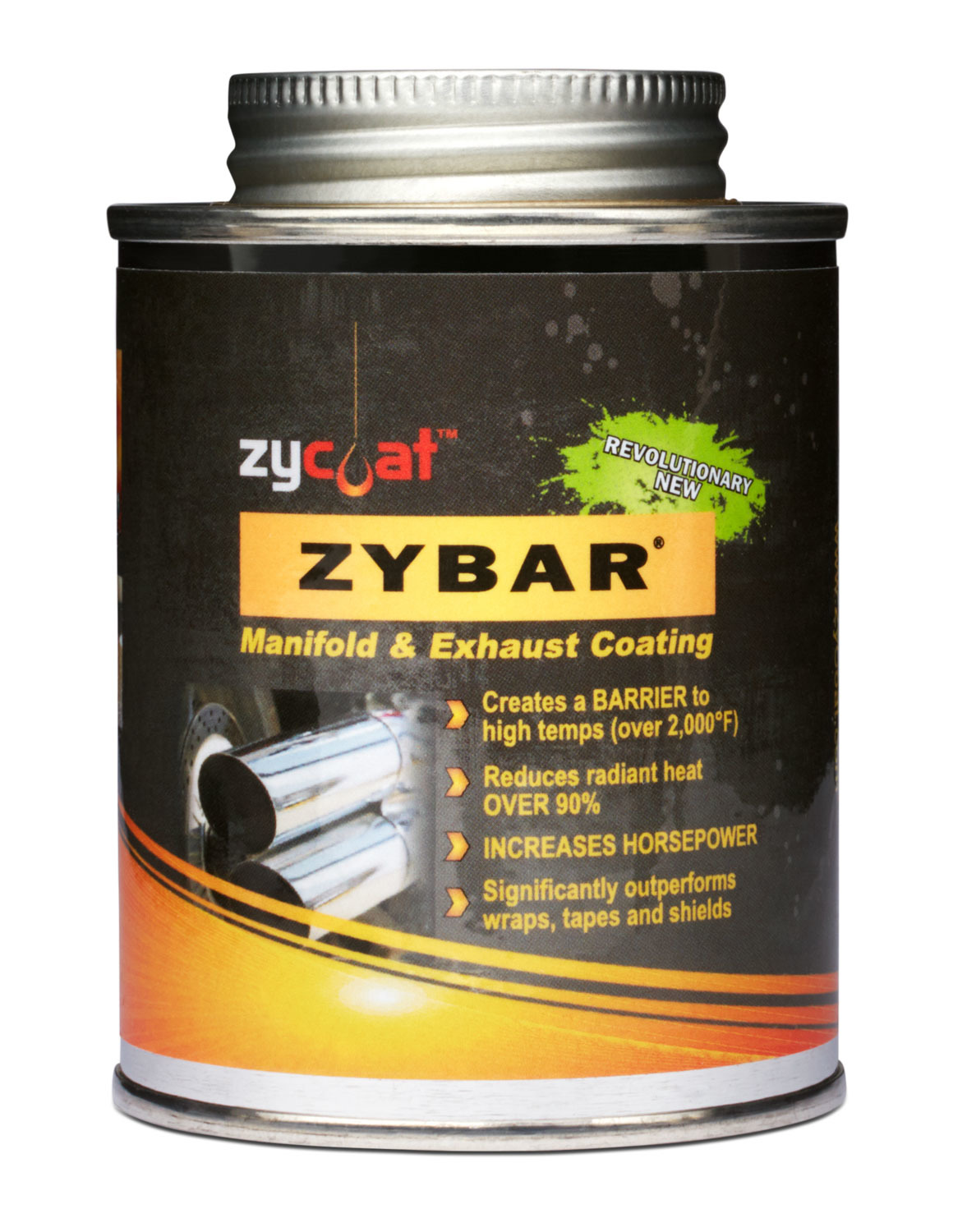 Zycoat 11008 Paint, Exhaust / Header, High Temperature, Ceramic Urethane, Midnight Black, 8 oz Can, Each